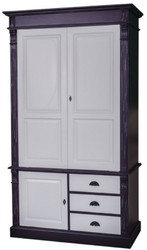 Casa Padrino Country Style Wardrobe Antique Black / Gray 120 x 59 x H. 210 cm - Solid Wood Bedroom Cabinet with 3 Doors and 3 Drawers - Country Style Bedroom Furniture