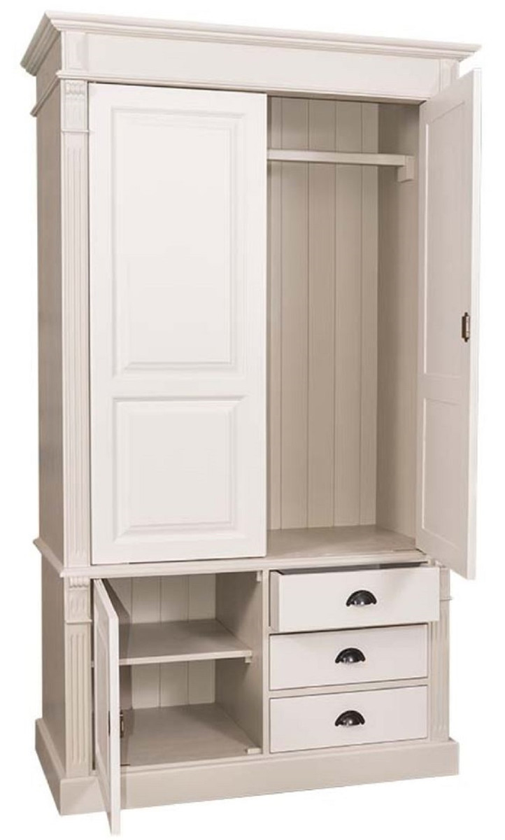 Casa Padrino Country Style Wardrobe Beige / Cream 120 x 59 x H. 210 cm -  Solid Wood Bedroom Cabinet with 3 Doors and 3 Drawers - Country Style  Bedroom ...
