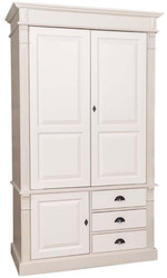 Casa Padrino Country Style Wardrobe Beige / Cream 120 x 59 x H. 210 cm - Solid Wood Bedroom Cabinet with 3 Doors and 3 Drawers - Country Style Bedroom Furniture