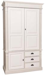 Casa Padrino Landhausstil Kleiderschrank Beige / Creme 120 x 59 x H. 210 cm - Massivholz Schlafzimmerschrank mit 3 Türen und 3 Schubladen - Landhausstil Schlafzimmermöbel