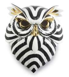 Casa Padrino Luxury Porcelain Deco Mask Owl Black / White / Gold 32 x 14 x H. 35 cm - Modern Handcrafted Wall Deco - First Class Quality - Made in Spain