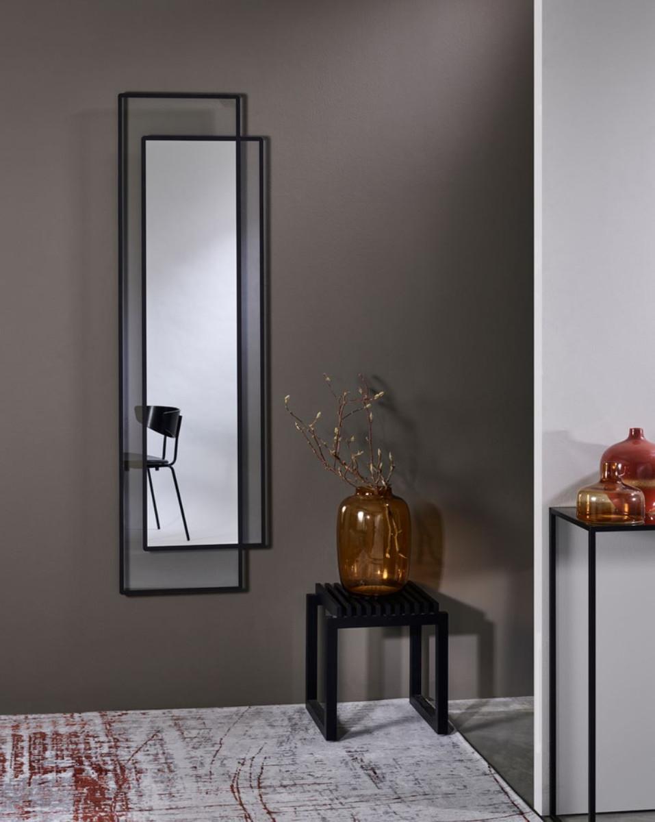 Casa Padrino Designer Wandspiegel Schwarz 8 x H. 8 cm - Wohnzimmer  Spiegel - Garderoben Spiegel - Designer Spiegel - Luxus Kollektion
