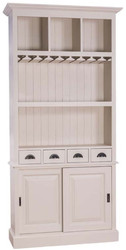 Casa Padrino country style wine cabinet with 2 sliding doors and 4 drawers light gray 103 x 36 x H. 210 cm - Solid Wood Bar Cabinet - Country Style Bar Furniture