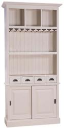 Casa Padrino Landhausstil Weinschrank mit 2 Schiebetüren und 4 Schubladen Hellgrau 103 x 36 x H. 210 cm - Massivholz Barschrank - Landhausstil Barmöbel