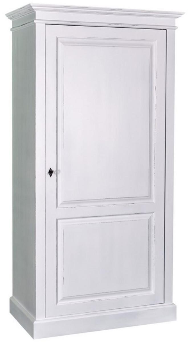 Casa Padrino Landhausstil Kleiderschrank Antik Weiß 149 x 67 x H. 210 cm -  Massivholz Schlafzimmerschrank mit Tür - Landhausstil Schlafzimmermöbel