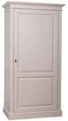 Casa Padrino Landhausstil Kleiderschrank Grau 149 x 67 x H. 210 cm - Massivholz Schlafzimmerschrank mit Tür - Landhausstil Schlafzimmermöbel