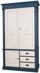 Casa Padrino Country Style Wardrobe Antique Blue / Antique Cream 120 x 59 x H. 210 cm - Solid Wood Bedroom Cabinet with 3 Doors and 3 Drawers - Country Style Bedroom Furniture