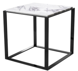 Casa Padrino luxury side table glossy black / white-purple 56 x 56 x H. 56 cm - Stainless Steel Table with Marble Top - Luxury Living Room Furniture