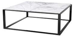 Casa Padrino luxury coffee table glossy black / white-purple 100 x 100 x H. 35 cm - Stainless Steel Coffee Table with Marble Top - Luxury Living Room Furniture