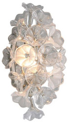 Casa Padrino Designer LED Wall Lamp Silver 22.9 x 17.8 x H. 45 cm - Metal Lamp with Handmade Glass in Floral Design - Luxury Collection