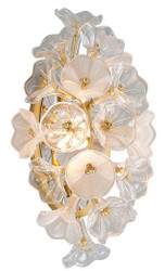 Casa Padrino Designer LED Wall Lamp Gold 22.9 x 17.8 x H. 45 cm - Metal Lamp with Handmade Glass in Floral Design - Luxury Collection