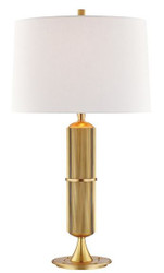 Casa Padrino Luxus Tischleuchte Antik Messing / Weiß Ø 38  x H. 71 cm - Tischlampe mit rundem Leinen Lampenschirm