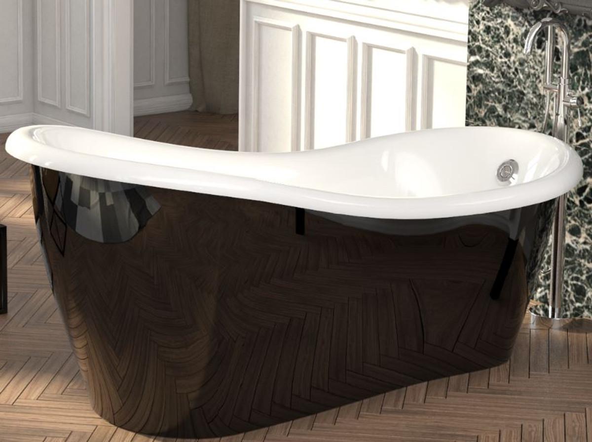 Casa Padrino Luxus Jugendstil Badewanne Schwarz / Weiß 170 x 80 x H. 70,5  cm - Freistehende Retro Antik Badewanne - Badezimmer Möbel