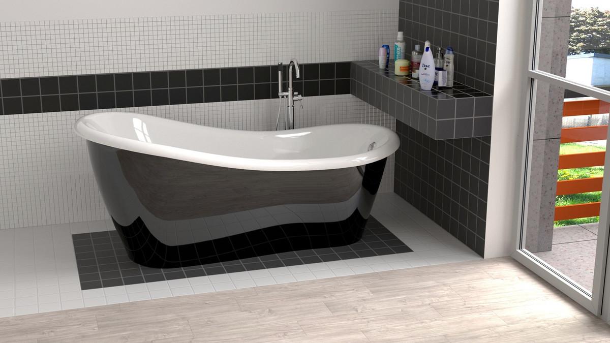 Casa Padrino Luxus Jugendstil Badewanne Schwarz / Weiß 115 x 115 x H. 115,15  cm - Freistehende Retro Antik Badewanne - Badezimmer Möbel