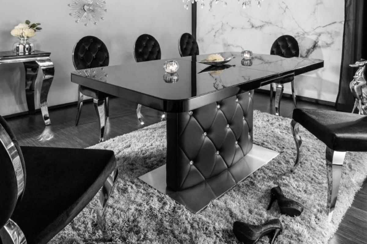 Casa Padrino mesa de comedor negro / plata 160-200 x 90 x H. 76 cm - Mesa  de Cocina Extensible Moderna y Extensible con Cuero Sintético y Piedras de  ...