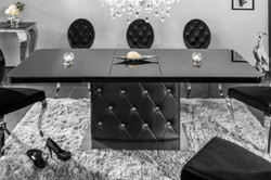 Casa Padrino Dining Table Black / Silver 160-200 x 90 x H. 76 cm - Modern Extendable Kitchen Table with Faux Leather and Rhinestones - Dining Room Furniture