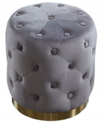 Casa Padrino Chesterfield Velvet Stool Dark Gray / Gold Ø 36 x H. 40 cm - Round Stool - Chesterfield Furniture