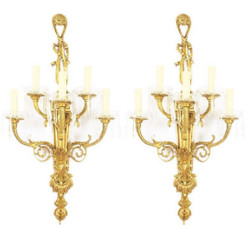 Casa Padrino Baroque Wall Lamp Set Gold / White 35 x 20 x H. 95 cm - Gilded Bronze Sconces - Sumptuous Baroque Lamps