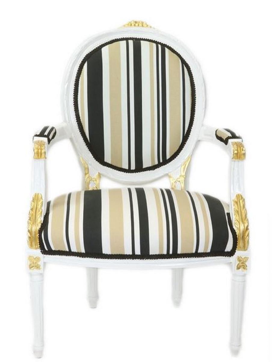 Casa Padrino Barock Salon Stuhl Weiß Gold Mehrfarbig