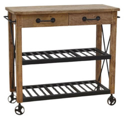 Casa Padrino Country Style Bar Trolley Natural / Black 106 x 48 x H. 103 cm - Wooden Serving Trolley with 2 Drawers - Gastronomy Accessories