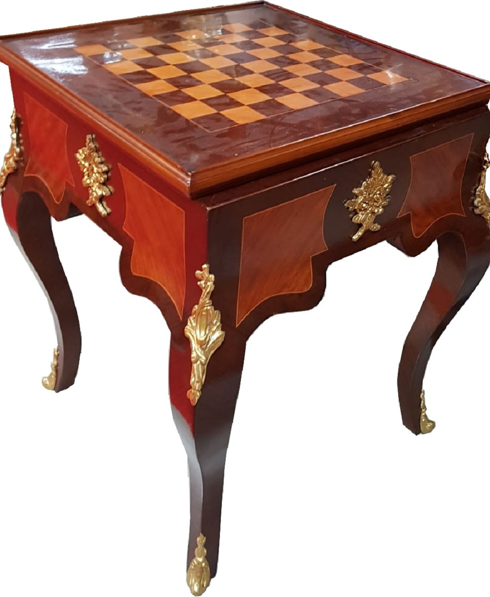 Art Deco Solid Wood Chess Table Brown