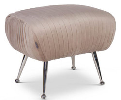 Casa Padrino luxury stool champagne / silver 57 x 45 x H. 46 cm - Velvet Stool with Stainless Steel Legs - Luxury Furniture