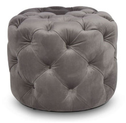 Casa Padrino Luxury Chesterfield Velvet Stool Gray Ø 53 x H. 41 cm - Round Stool - Chesterfield Furniture