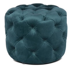 Casa Padrino Luxury Chesterfield Velvet Stool Green Ø 53 x H. 41 cm - Round Stool - Chesterfield Furniture