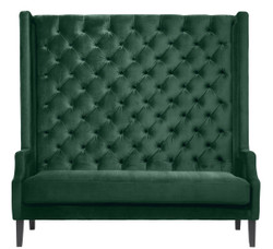 Casa Padrino luxury high-back sofa dark green / black 160 x 68 x H. 160 cm - Chesterfield Velvet Sofa - Chesterfield Furniture