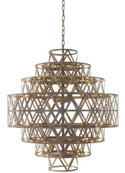 Casa Padrino Luxury LED Chandelier Antique Brass Ø 82 x H. 88.5 cm - Round Stainless Steel Chandelier - Luxury Quality