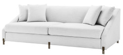 Casa Padrino Luxury Sofa White / Brass 223 x 94 x H. 73 cm - Living Room Sofa with 4 Pillows - Luxury Furniture