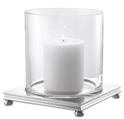 Casa Padrino luxury hurricane silver 17 x 17 x H. 17,5 cm - Modern Candle Holder with Round Glass and Square Metal Base - Luxury Accessories
