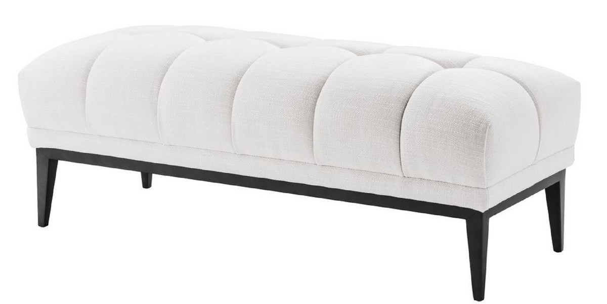 Casa Padrino Luxury Bench White Black 124 X 53 X H 44 Cm Upholstered Bench With Stainless Steel Legs Living Room Furniture