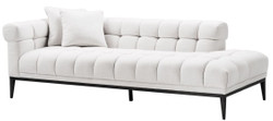 Casa Padrino Luxury Lounge Sofa White / Black 223 x 98 x H. 69 cm - Left Side Living Room Sofa with 2 Pillows - Luxury Quality