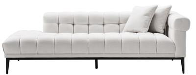 Casa Padrino Luxury Lounge Sofa White / Black 223 x 98 x H. 69 cm - Right Side Living Room Sofa with 2 Pillows - Luxury Quality – Bild 3