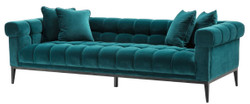 Casa Padrino Luxury Velvet Sofa Sea Green / Black 240 x 98 x H. 69 cm - Living Room Sofa with 4 Pillows - Living Room Furniture - Luxury Furniture