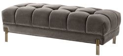 Casa Padrino Luxury Bench Gray / Brass 133 x 59 x H. 42 cm - Upholstered Velvet Bench with Stainless Steel Legs - Luxury Collection