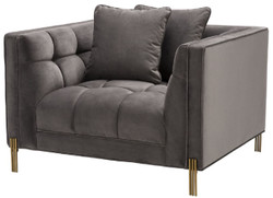 Casa Padrino luxury velvet armchair with 2 cushions gray / brass 104 x 95 x H. 68 cm - Luxury Living Room Furniture