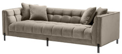 Casa Padrino luxury velvet sofa with 4 pillows greige / black 231 x 95 x H. 68 cm - Living Room Sofa - Luxury Quality
