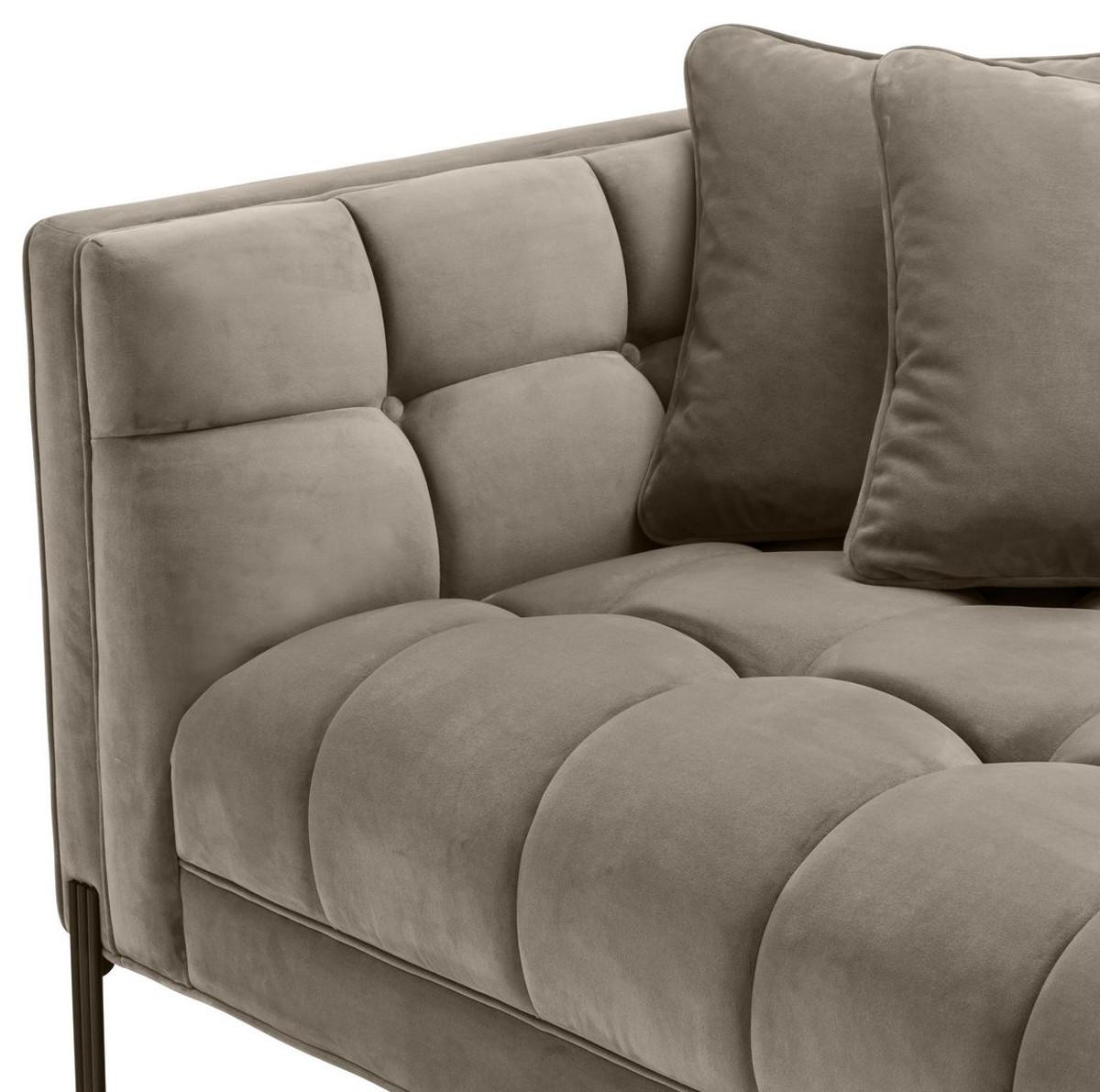 H Et H Canapé casa padrino canapé lounge de luxe greige / noir 223 x 95 x h. 68 cm -  canapé de salon côté gauche avec velours fin et 2 oreillers