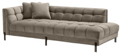 Casa Padrino Luxury Lounge Sofa Greige / Black 223 x 95 x H. 68 cm - Left Side Living Room Sofa with Fine Velvet and 2 Pillows