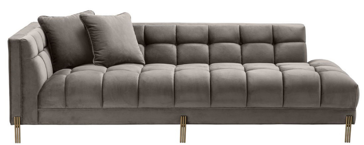 Casa Padrino Luxus Lounge Sofa Grau / Messingfarben 223 x 95 x H. 68 cm -  Linksseitiges Wohnzimmer Sofa mit edlem Samtsoff und 2 Kissen