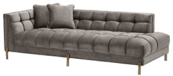 Casa Padrino Luxury Lounge Sofa Gray / brass Casa Padrino Luxury Lounge Sofa Gray / Brass 223 x 95 x H. 68 cm - Left Side Living Room Sofa with Fine Velvet and 2 Pillows