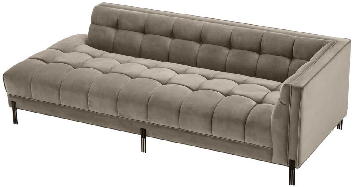 Casa Padrino Luxus Lounge Sofa Greige / Schwarz 223 x 95 x H. 68 cm -  Rechtsseitiges Wohnzimmer Sofa mit edlem Samtsoff und 2 Kissen