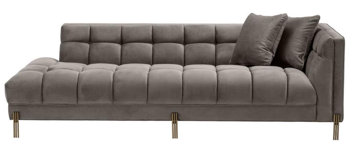 Casa Padrino Luxus Lounge Sofa Grau / Messingfarben 223 x 95 x H. 68 cm -  Rechtsseitiges Wohnzimmer Sofa mit edlem Samtsoff und 2 Kissen