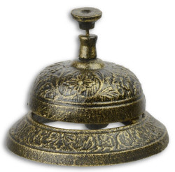Casa Padrino Antique Style Table Bell Antique Gold / Black Ø 11.6 x H. 8.5 cm - Cast Iron Table Bell - Service Bell - Hotel & Gastronomy Accessories