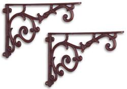 Casa Padrino Jugendstil Wandhalter Set Antik Rotbraun 30,4 x H. 19,3 cm - Barock & Jugendstil Wanddeko Accessoires