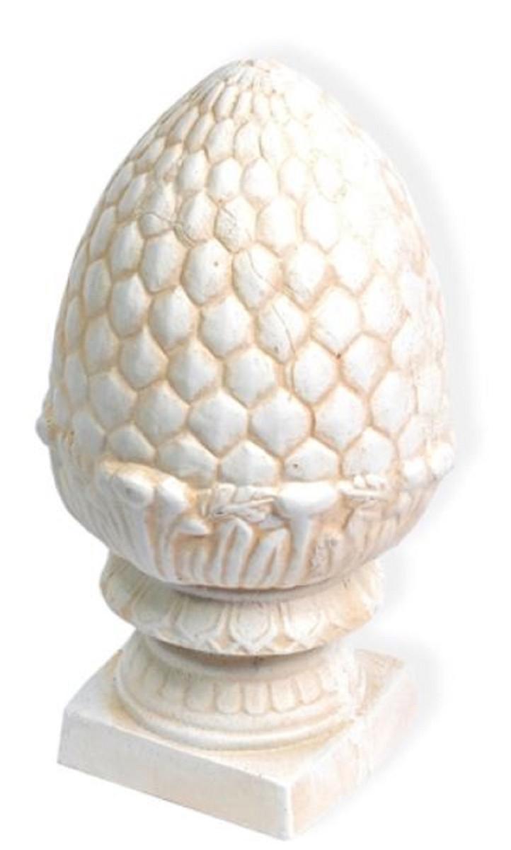 Casa Padrino Jugendstil Gusseisen Deko Ananas mit Sockel Weiß / Beige Ø 21,5 x H. 39 cm - Deko Skulptur - Barock & Jugendstil Gartendeko 1