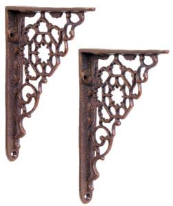 Casa Padrino Jugendstil Gusseisen Wandhalter Set Braun H. 16,5 cm - Wanddeko - Deko Accessoires