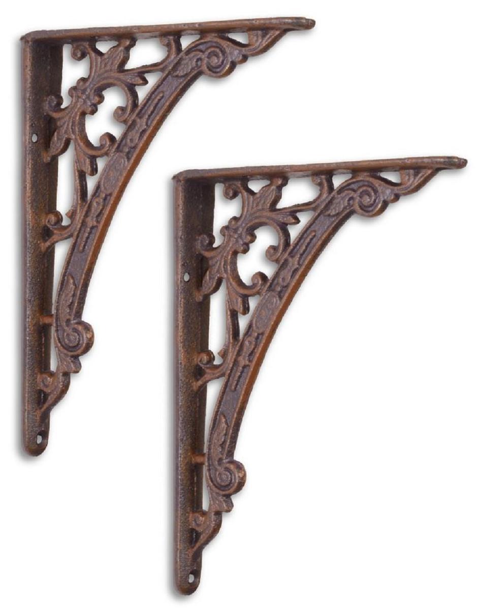 Casa Padrino Jugendstil Gusseisen Wandhalter Set Antik Braun 14 x H. 18,6 cm - Wanddeko - Deko Accessoires 1